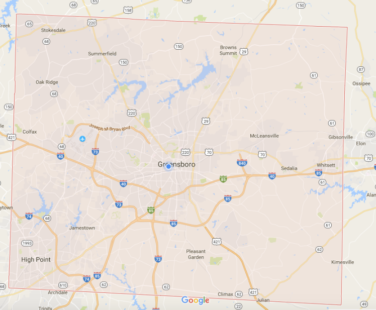 google map of guilford county